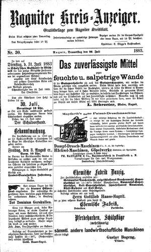Ragniter Kreis-Anzeiger vom 26.07.1883