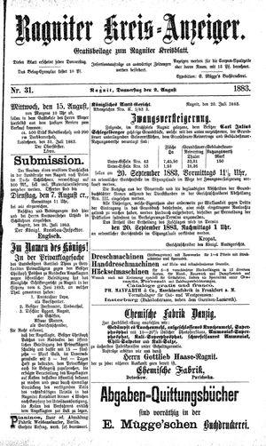 Ragniter Kreis-Anzeiger vom 02.08.1883