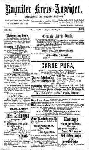 Ragniter Kreis-Anzeiger vom 16.08.1883