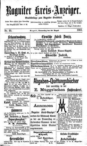 Ragniter Kreis-Anzeiger vom 30.08.1883
