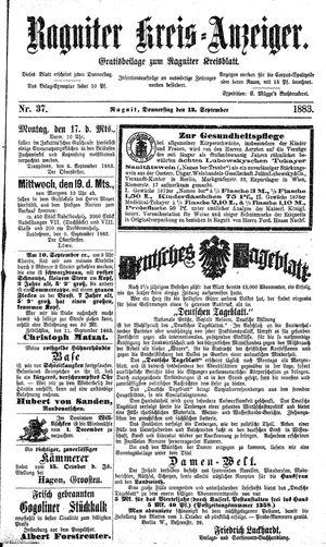 Ragniter Kreis-Anzeiger vom 13.09.1883
