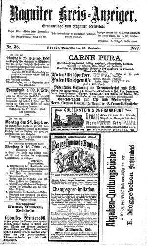 Ragniter Kreis-Anzeiger vom 20.09.1883