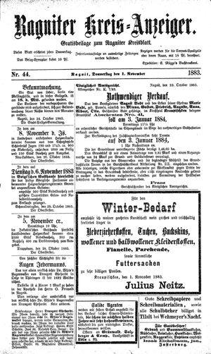 Ragniter Kreis-Anzeiger vom 01.11.1883