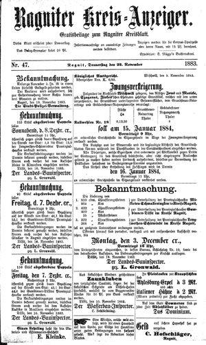 Ragniter Kreis-Anzeiger vom 22.11.1883