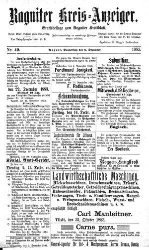 Ragniter Kreis-Anzeiger vom 06.12.1883