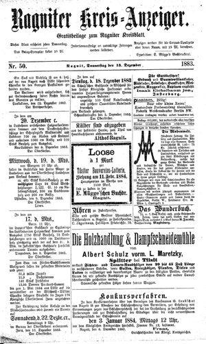 Ragniter Kreis-Anzeiger vom 13.12.1883