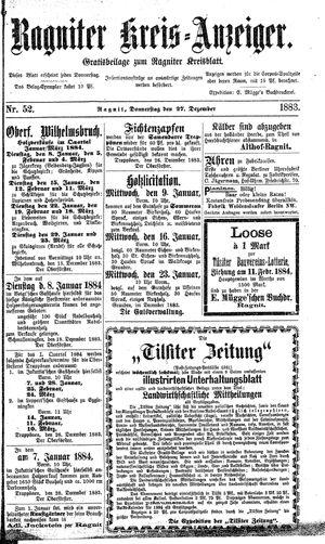 Ragniter Kreis-Anzeiger vom 27.12.1883
