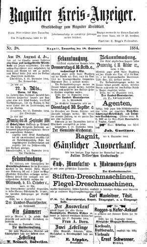 Ragniter Kreis-Anzeiger vom 18.09.1884
