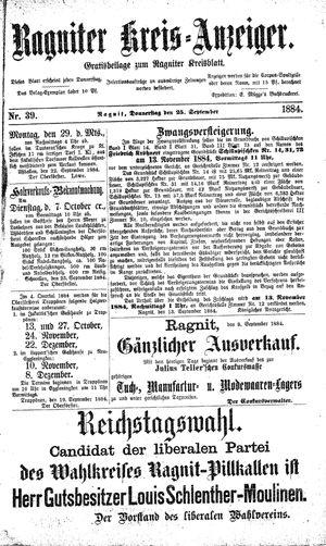 Ragniter Kreis-Anzeiger vom 25.09.1884