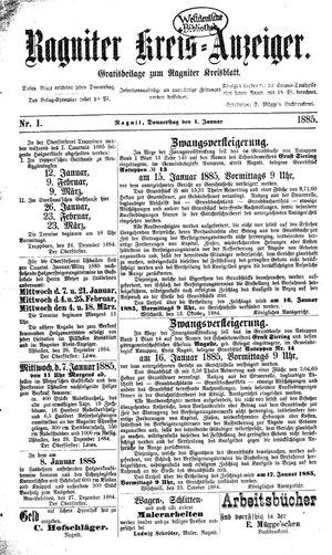 Ragniter Kreis-Anzeiger vom 01.01.1885