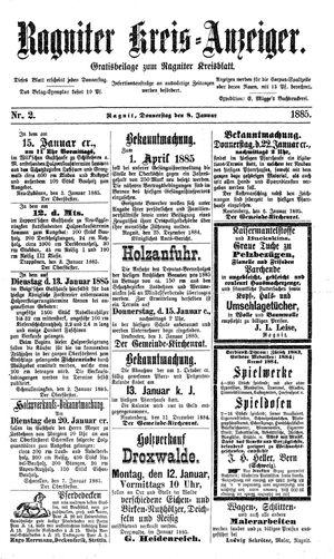Ragniter Kreis-Anzeiger vom 08.01.1885