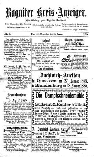 Ragniter Kreis-Anzeiger vom 15.01.1885