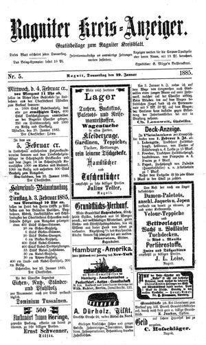 Ragniter Kreis-Anzeiger vom 29.01.1885