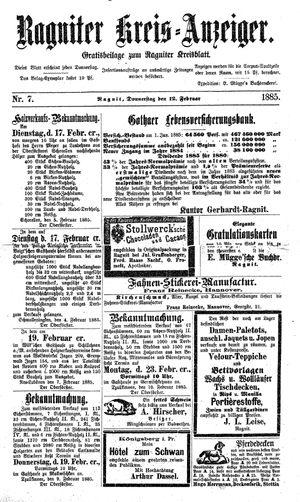 Ragniter Kreis-Anzeiger vom 12.02.1885