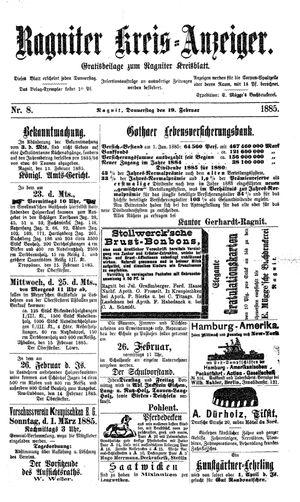 Ragniter Kreis-Anzeiger vom 19.02.1885