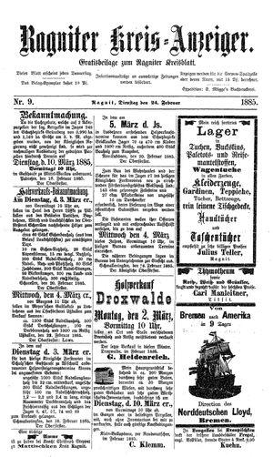 Ragniter Kreis-Anzeiger vom 24.02.1885