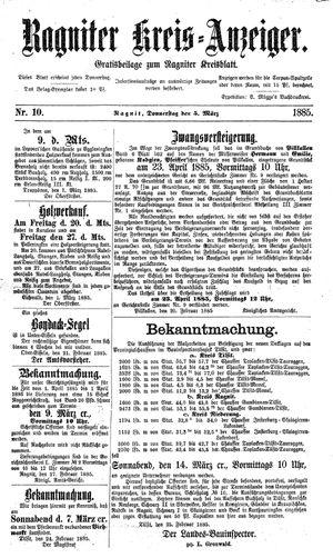 Ragniter Kreis-Anzeiger vom 05.03.1885