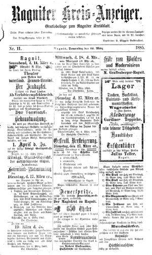 Ragniter Kreis-Anzeiger vom 12.03.1885