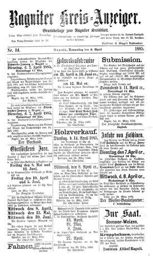 Ragniter Kreis-Anzeiger vom 02.04.1885