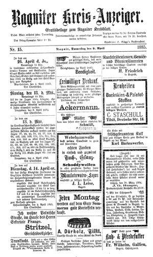 Ragniter Kreis-Anzeiger vom 09.04.1885