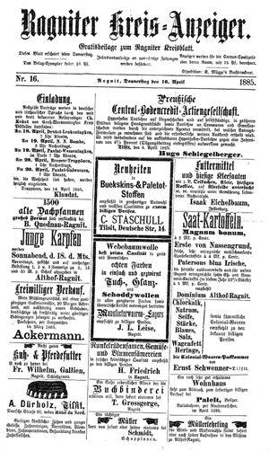 Ragniter Kreis-Anzeiger vom 16.04.1885
