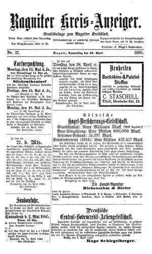 Ragniter Kreis-Anzeiger vom 23.04.1885