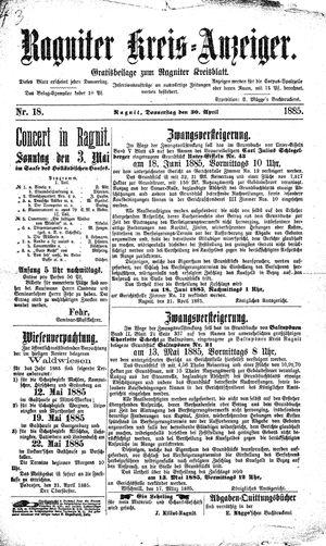 Ragniter Kreis-Anzeiger vom 30.04.1885