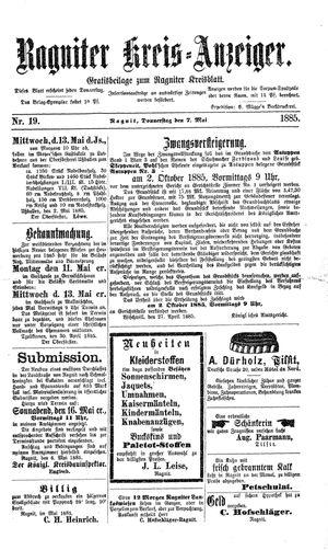 Ragniter Kreis-Anzeiger vom 07.05.1885