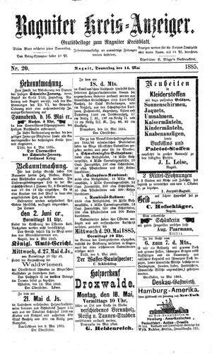 Ragniter Kreis-Anzeiger vom 14.05.1885