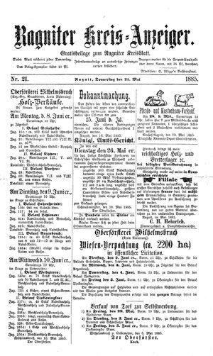 Ragniter Kreis-Anzeiger vom 21.05.1885