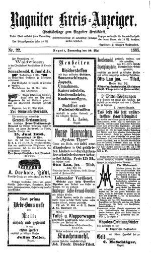 Ragniter Kreis-Anzeiger vom 28.05.1885