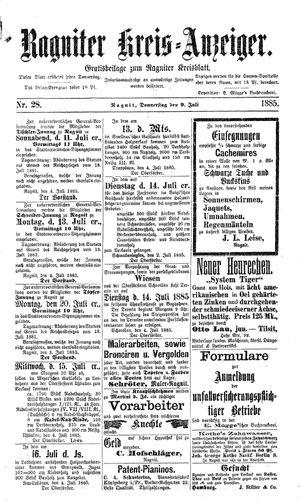 Ragniter Kreis-Anzeiger vom 09.07.1885