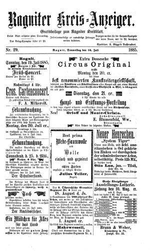 Ragniter Kreis-Anzeiger vom 16.07.1885