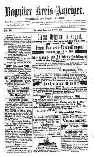 Ragniter Kreis-Anzeiger vom 23.07.1885