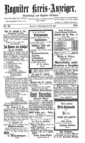 Ragniter Kreis-Anzeiger vom 30.07.1885