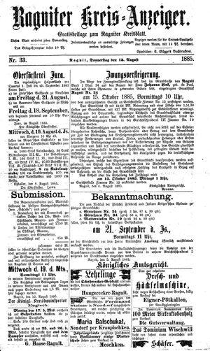 Ragniter Kreis-Anzeiger vom 13.08.1885