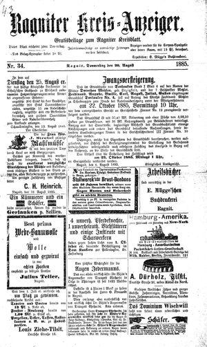 Ragniter Kreis-Anzeiger vom 20.08.1885