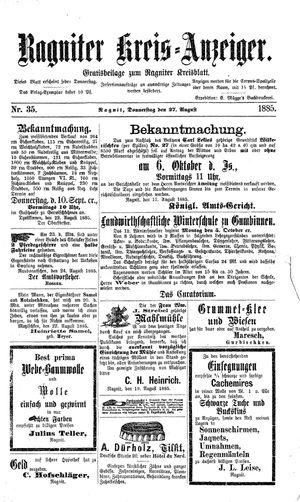 Ragniter Kreis-Anzeiger vom 27.08.1885