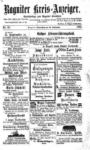 Ragniter Kreis-Anzeiger vom 10.09.1885