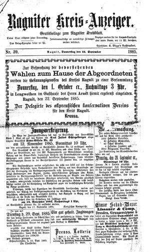 Ragniter Kreis-Anzeiger vom 24.09.1885