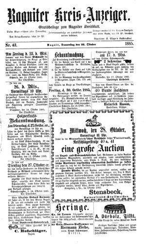 Ragniter Kreis-Anzeiger vom 22.10.1885