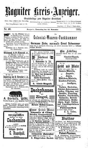 Ragniter Kreis-Anzeiger vom 12.11.1885
