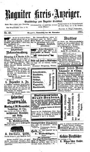 Ragniter Kreis-Anzeiger vom 26.11.1885