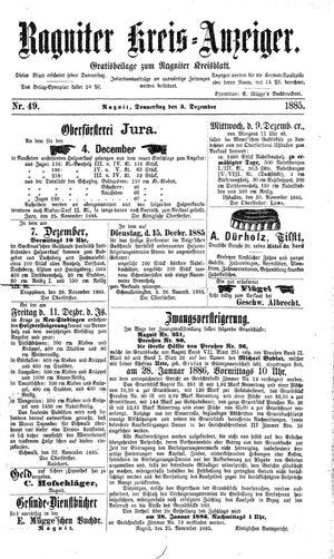 Ragniter Kreis-Anzeiger vom 03.12.1885