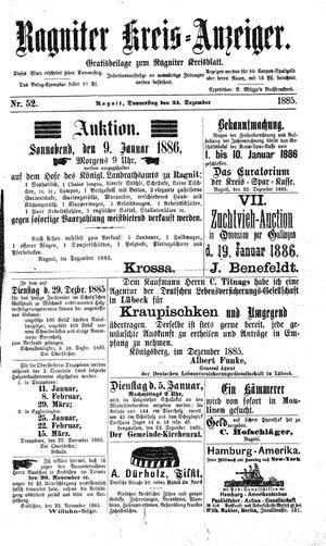 Ragniter Kreis-Anzeiger vom 24.12.1885