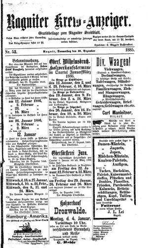 Ragniter Kreis-Anzeiger vom 31.12.1885