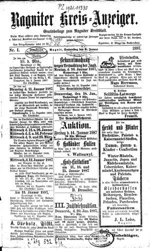 Ragniter Kreis-Anzeiger vom 06.01.1887
