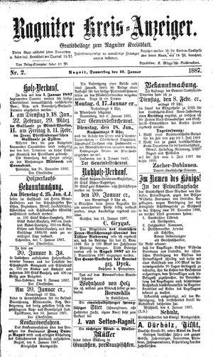 Ragniter Kreis-Anzeiger vom 13.01.1887