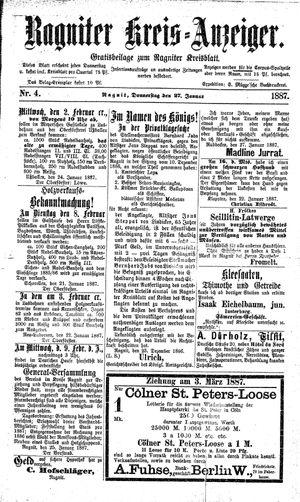 Ragniter Kreis-Anzeiger vom 27.01.1887