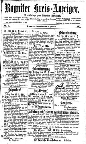 Ragniter Kreis-Anzeiger vom 03.02.1887